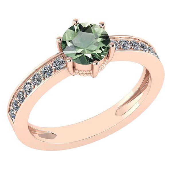 Certified 1.09 Ctw Green Amethyst And Diamond VS/SI1 Ri