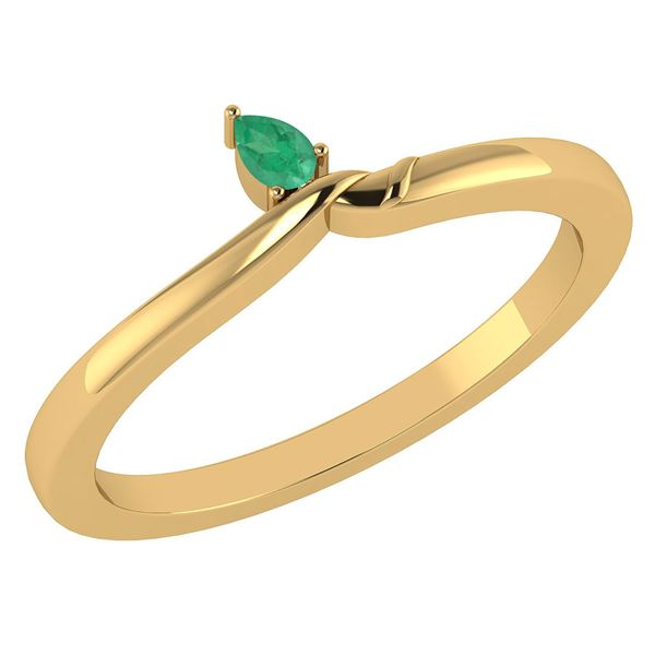 Certified 0.23 Ctw Genuine Emerald 14K Yellow Gold Ring