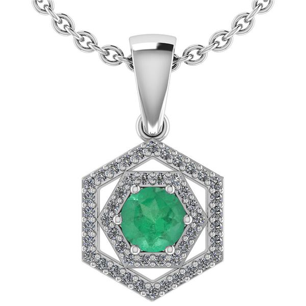 Certified 0.69 Ctw Emerald And Diamond 14k White Gold H