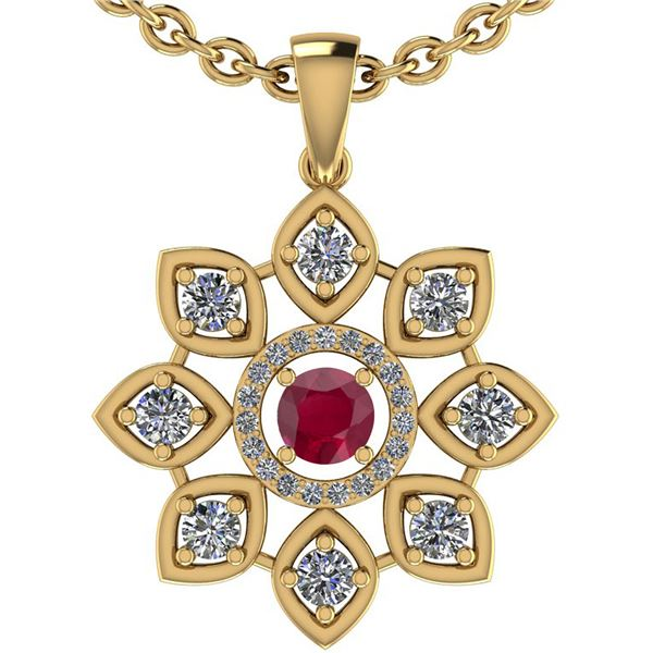 Certified 1.10 Ctw Ruby And Diamond VS/SI1 18K Yellow G