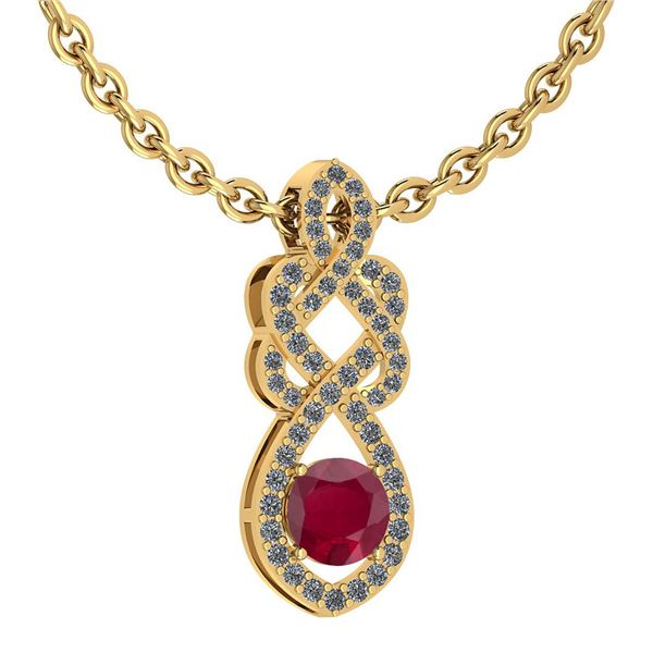 Certified 1.26 Ctw Ruby And Diamond VS/SI1 Necklace 14K