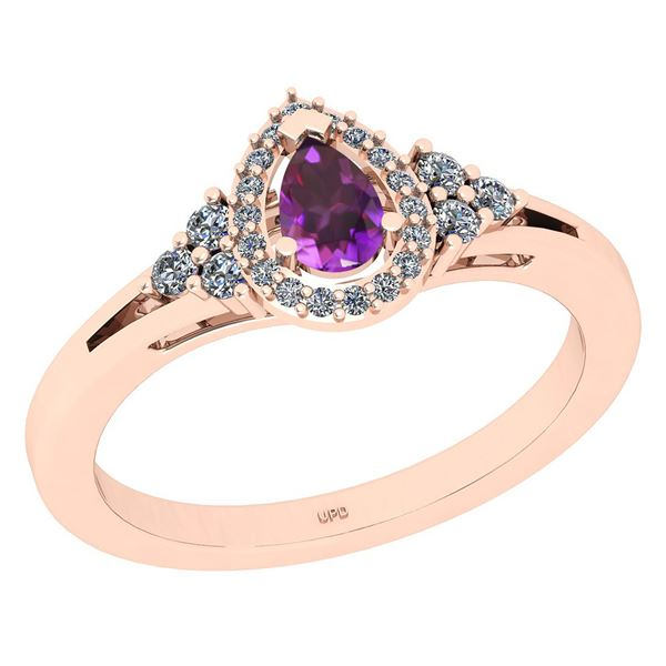 Certified 1.27 Ctw I2/I3 Amethyst And Diamond 10K Rose