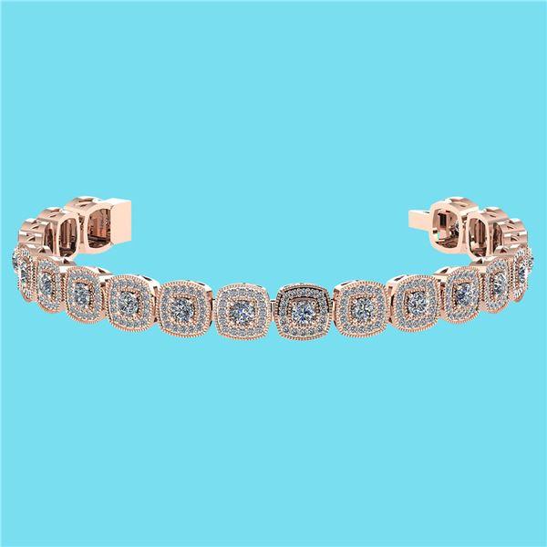 Certified 3.60 Ctw SI1/I2 Diamond 18K Rose Gold Bracele