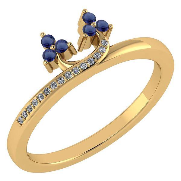Certified 0.16 Ctw Blue Sapphire And Diamond 14k Yellow