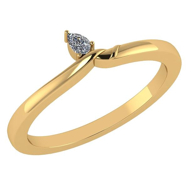 Certified 0.13 Ctw Diamond 14K Yellow Gold Promise Ring