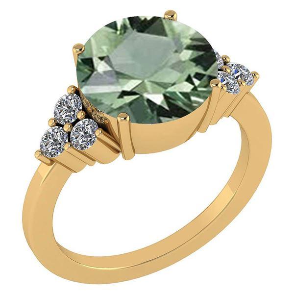 Certified 3.60 Ctw Green Amethyst And Diamond VS/SI1 Ri