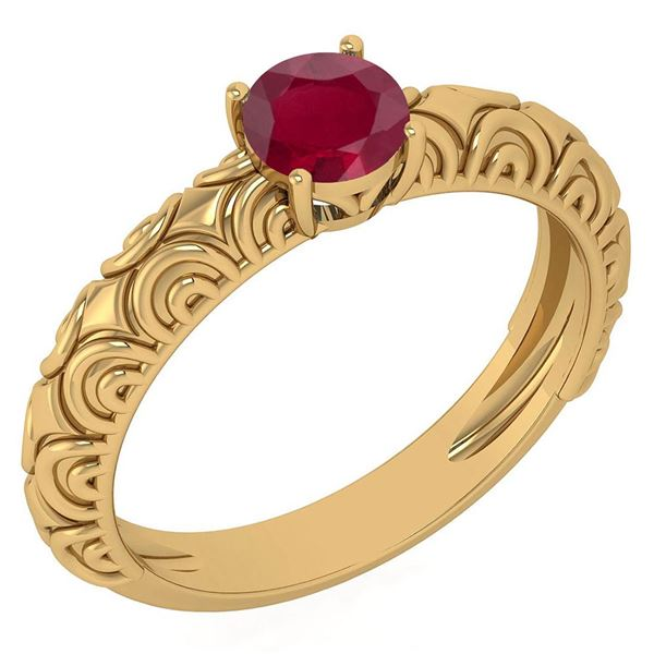 Certified 0.45 Ctw Ruby Solitaire Ring with Filigree Fo