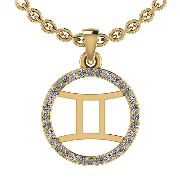 Certified 0.12 Ctw SI2/I1 Diamond 14K Yellow Gold Zodia