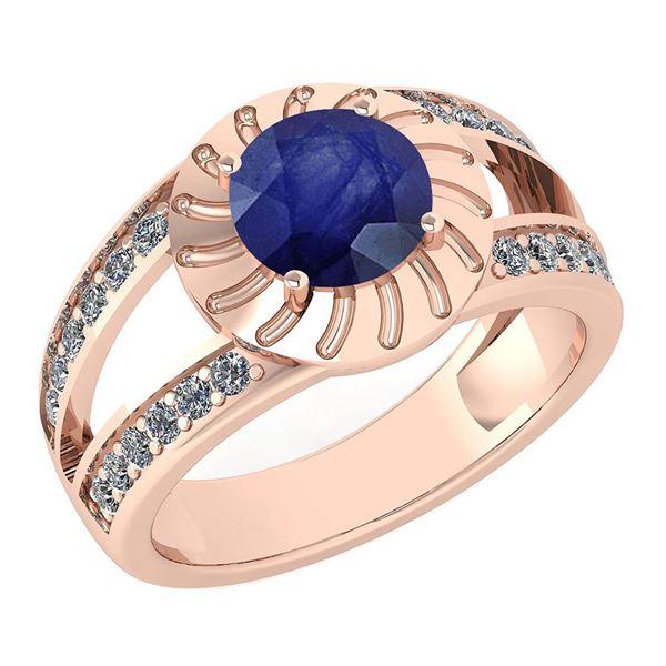 Certified 1.58 Ctw Blue Sapphire And Diamond Wedding/En