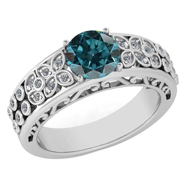 Certified 1.42 Ctw Treated Fancy Blue Diamond And White