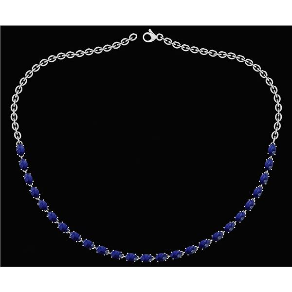 Certified 12.50 Ctw Blue Sapphire Oval Shape Necklace F