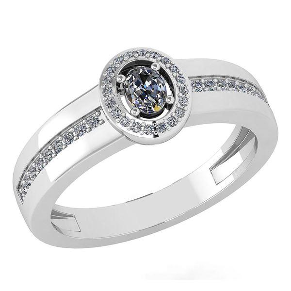 Certified 0.35 Ctw Diamond 14K White Gold Halo Ring