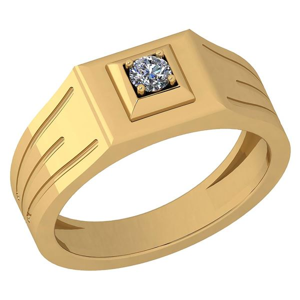 Certified 0.15 Ctw Diamond VS/SI1 Mens Band Ring 18K Ye