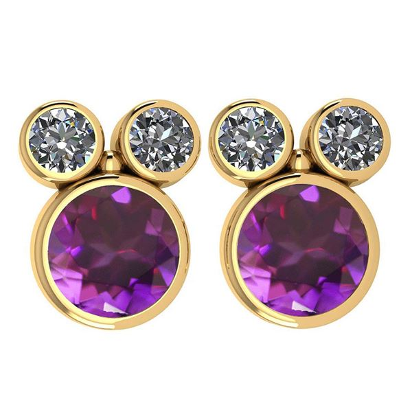 Certified 3.14 Ctw Amethyst And Diamond VS/SI1 Earrings