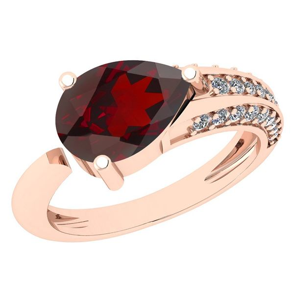 Certified 0.46 Ctw Garnet And Diamond VS/SI1 Ring 14k Y