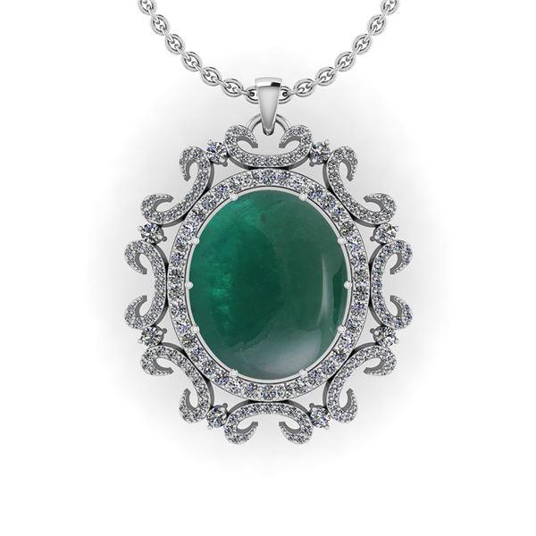 Certified 61.82 Ctw I2/I3 Emerald And Diamond 14K White