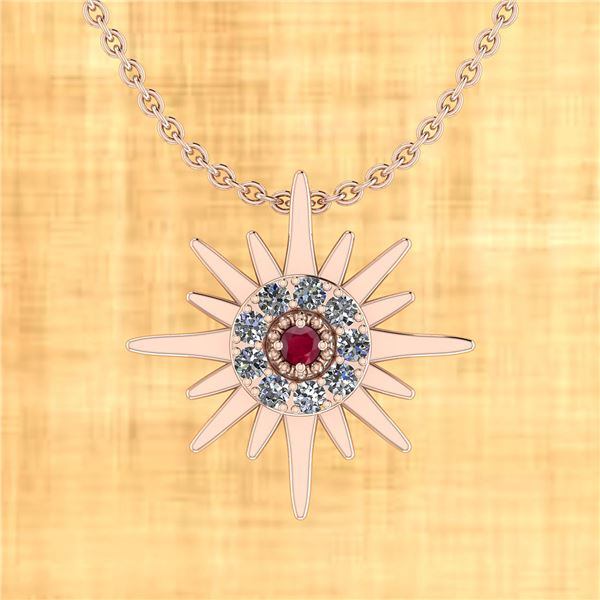 Certified 0.72 Ctw Ruby And Diamond VS/SI1 18k Rose Gol