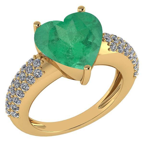 Certified 5.01 Ctw Emerald And Diamond VS/SI1 Ladies Fa