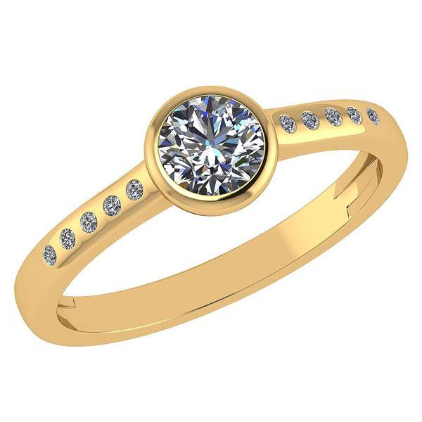 Certified 0.50 Ctw Diamond 18K Yellow Gold Halo Ring