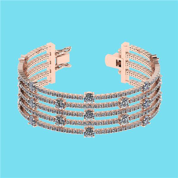 Certified 20.06 Ctw SI2/I1 Diamond 14K Rose Gold Bracel
