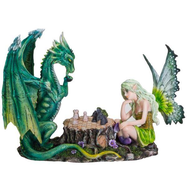 FAIRY PLAYING CHESS W/ GREEN DRAGON