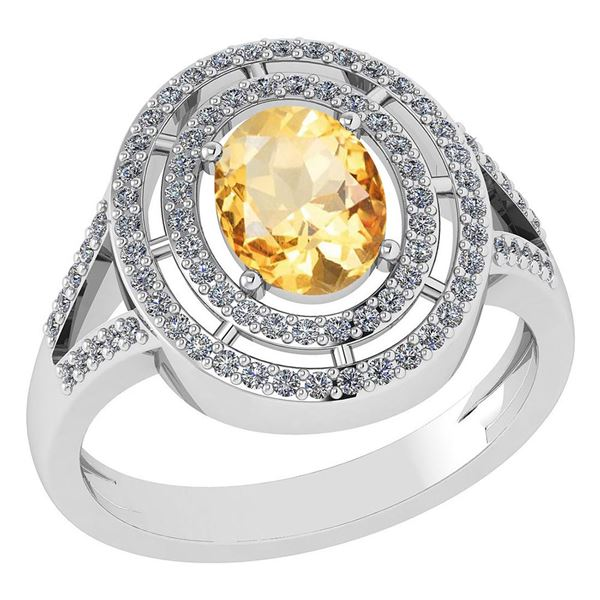 Certified 1.66 Ctw Citrine And Diamond 14k White Gold H