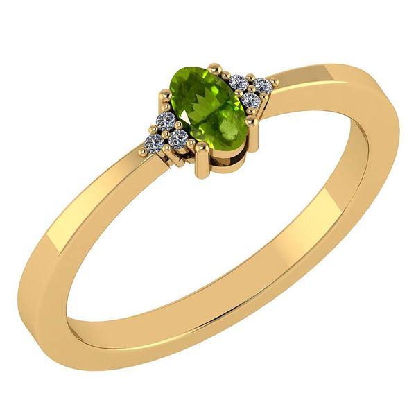 Certified 0.24 CTW Peridot And Diamond 14k Yellow Gold