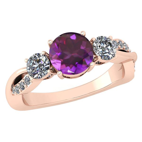 Certified 1.86 Ctw Amethyst And Diamond VS/SI1 3 Stone
