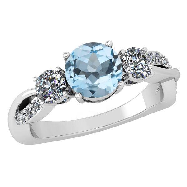 Certified 1.86 Ctw Blue Topaz And White Diamond VS/SI1