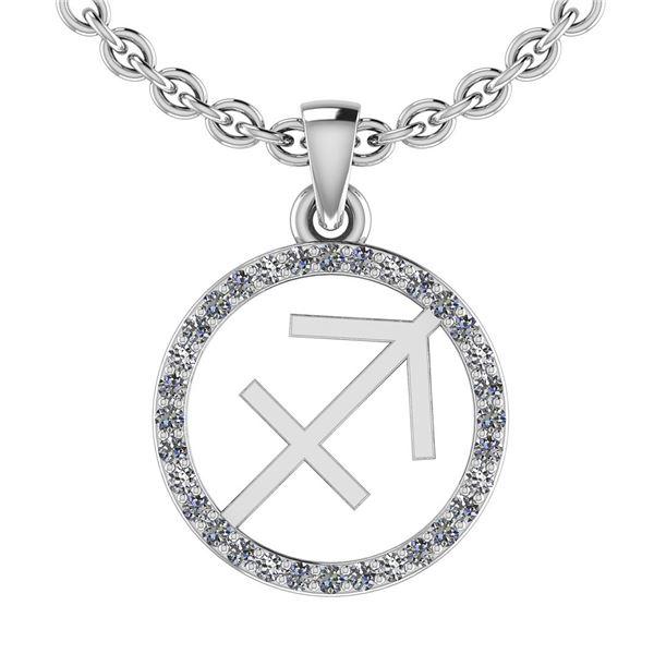 Certified 0.19 Ctw SI2/I1 Diamond 14K White Gold Zodiac