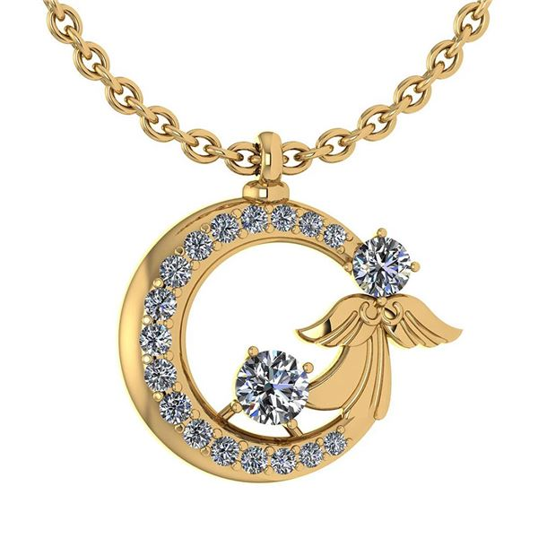 Certified 1.14 Ctw Diamond Tiny Angel Necklace For wome