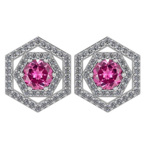 Certified 1.38 Ctw Pink Tourmaline And Diamond 18k Whit