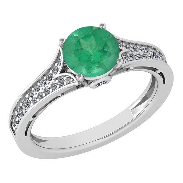 Certified 1.47 Ctw Emerald And Diamond Wedding/Engageme