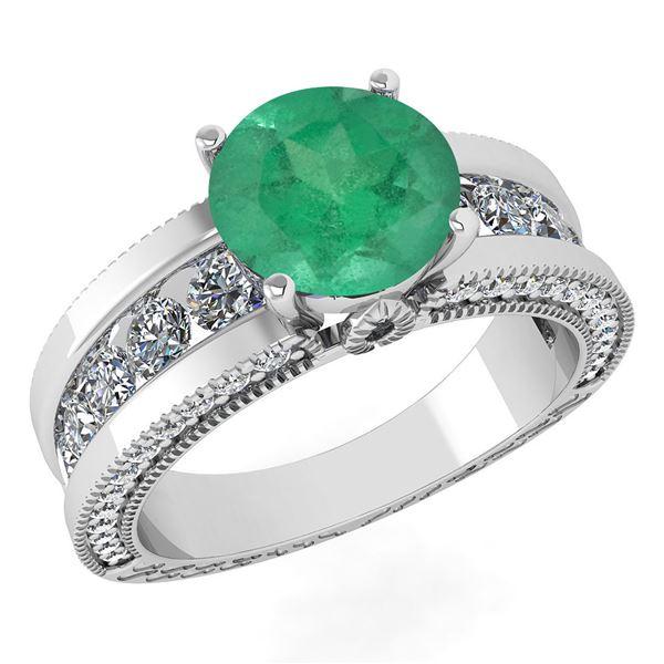 Certified 2.24 Ctw Emerald And Diamond Wedding/Engageme
