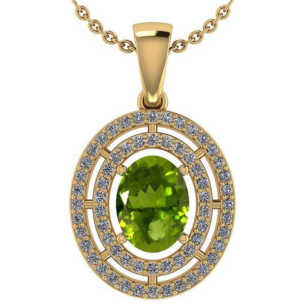 Certified 1.56 Ctw Peridot And Diamond 18K Yellow Gold