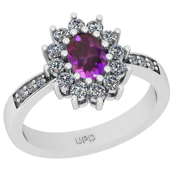 Certified 1.23 Ctw I2/I3 Amethyst And Diamond 10K White