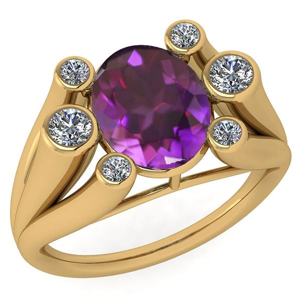 Certified 2.82 Ctw Amethyst And Diamond VS/SI1 Ring 14k