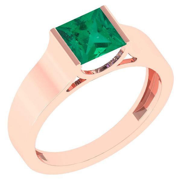 Certified 0.75 Ctw Emerlad 18k Rose Gold Ring