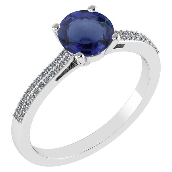 Certified 1.37 Ctw Blue Sapphire And Diamond 14k White