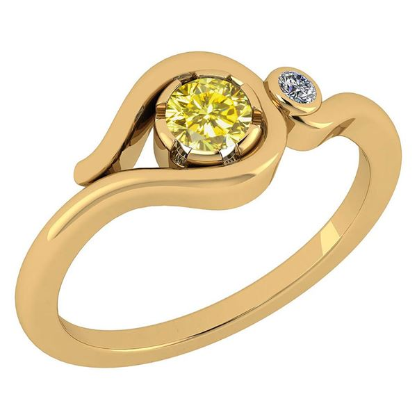Certified 0.28 CtwTreated Fancy Yellow Diamond VS/SI1 A
