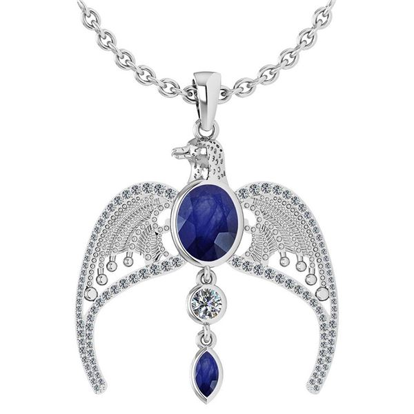 Certified 3.41 Ctw Blue Sapphire And Diamond Eagle Neck