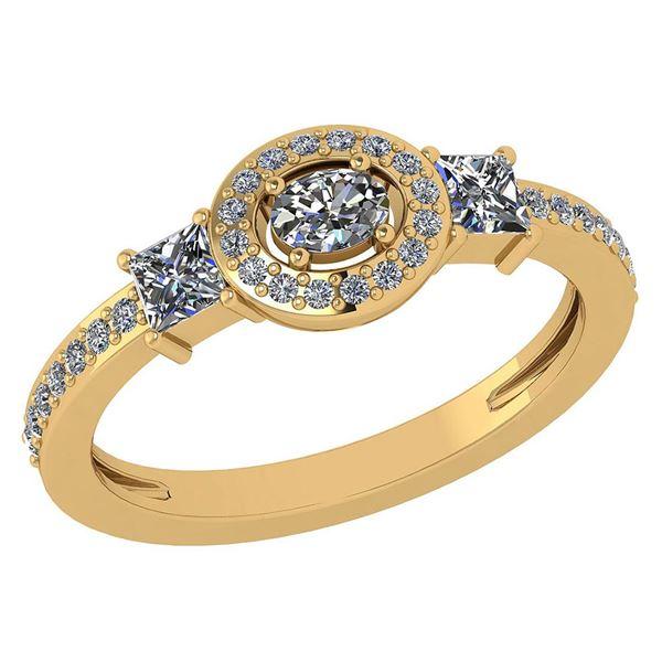 0.77 Ctw Diamond 14k Yellow Gold Halo Ring