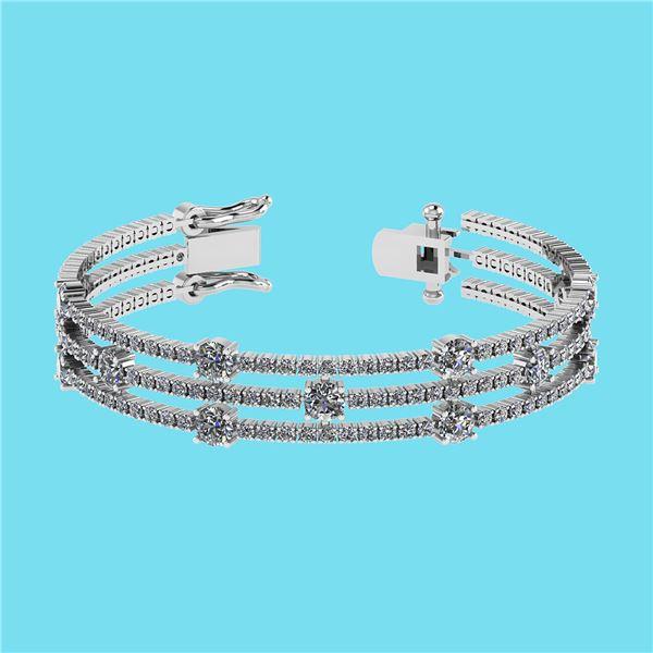 Certified 6.52 Ctw SI2/I1 Diamond 14K White Gold Bracel
