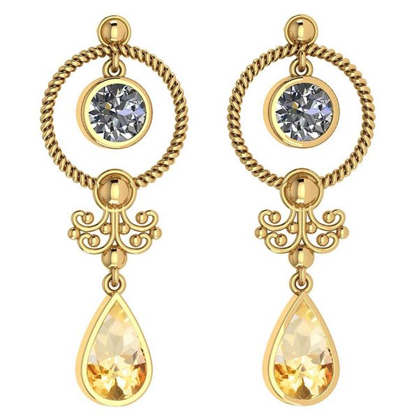 Certified 5.18 Ctw Citrine And Diamond SI2/I1 Dangling