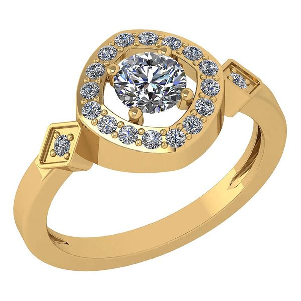 Certified 0.59 Ctw Diamond 14K Yellow Gold Promise Ring