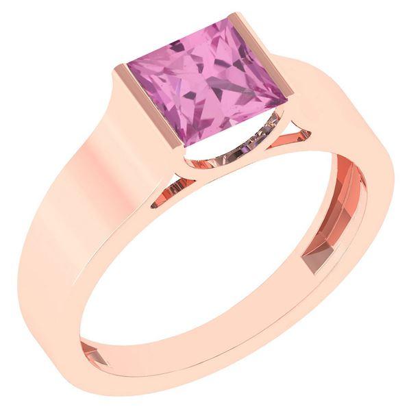 Certified 0.75 Ctw Pink Tourmaline 18k Rose Gold Ring