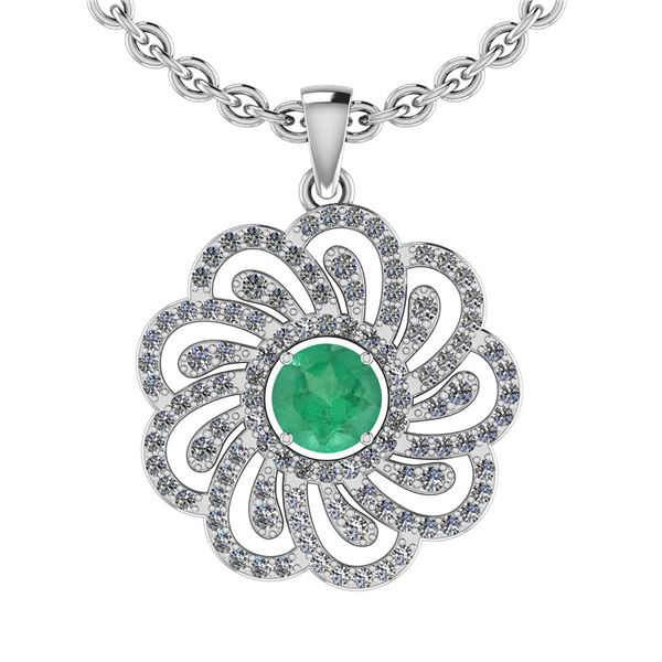 Certified 1.19 Ctw SI2/I1 Emerald And Diamond 14K White