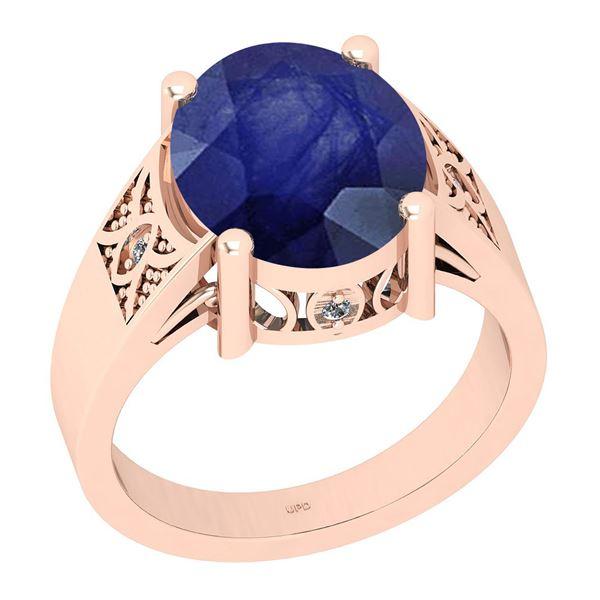 Certified 4.94 Ctw I2/I3 Blue Sapphire And Diamond 14K
