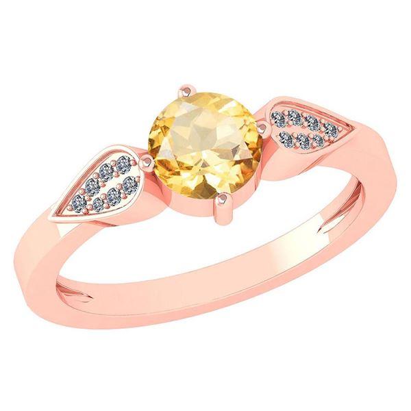 Certified 1.12 Ctw Citrine And Diamond 14k Rose Gold Ha
