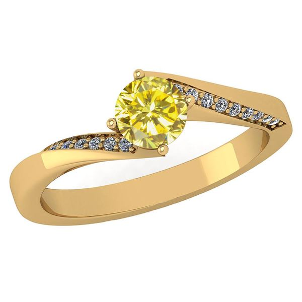 Certified 1.09 Ctw Treated Fancy Yellow Diamond And Whi